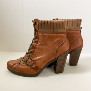 Nine West brown leather lace up booties with heel